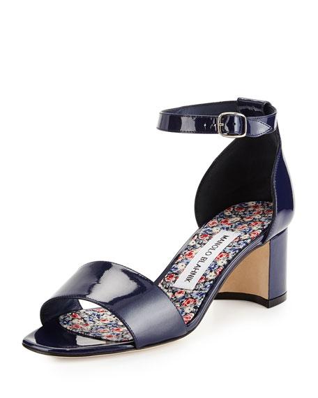 Manolo Blahnik Lauratom Shimmer Patent Ankle-Wrap Sandal