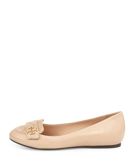 Tory Burch Leila Quilted Ballerina Loafer, Beige