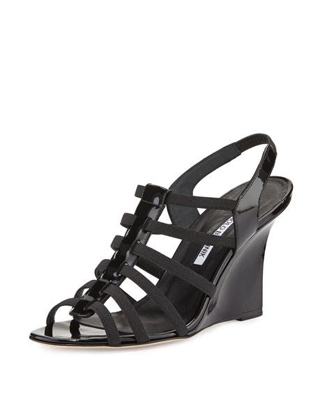 Manolo Blahnik Iaggia Patent Wedge Sandal, Black