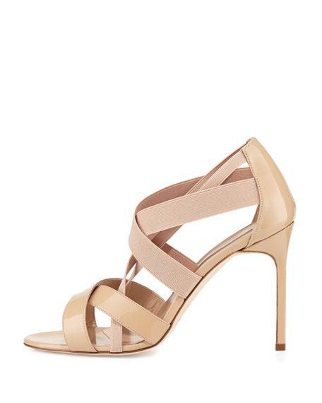 Eletti Patent Crisscross Sandal, Nude