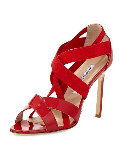 Eletti Patent Crisscross Sandal, Red