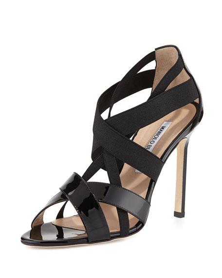 Manolo Blahnik Eletti Patent Crisscross Sandal, Black