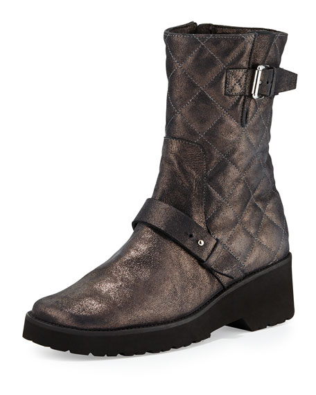 Anyi LuAdrian Metallic Quilted Boot