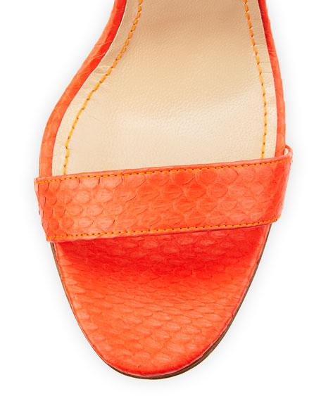 Chaos Snakeskin Sandal, Coral