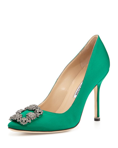 Manolo BlahnikHangisi Satin Crystal-Toe Pump, Green