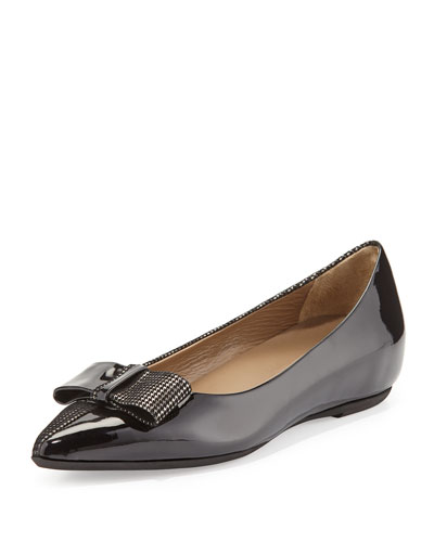 Delia Patent/Houndstooth Bow Flat