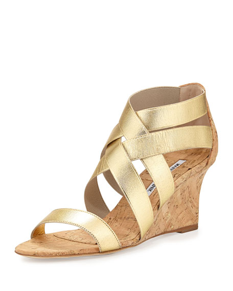 Manolo Blahnik Glassa Strappy Cork Wedge Sandal, Gold