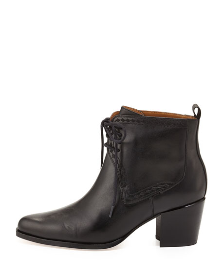 Frontier Lace-Up Ankle Bootie, Black