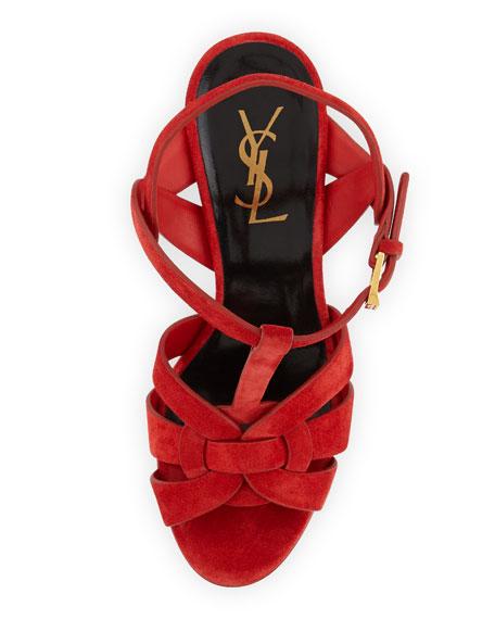 Tribute Suede Platform Sandal, Lipstick Red