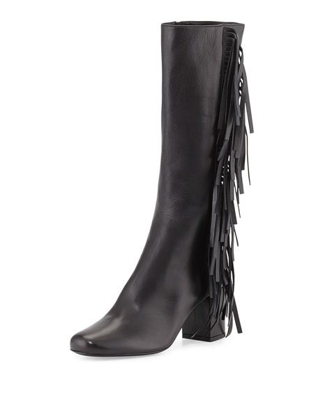 Saint Laurent Napa Fringe Knee Boot, Nero (Black)