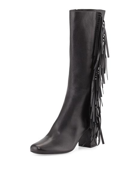 Saint Laurent Napa Fringe Knee Boot, Nero (Black)