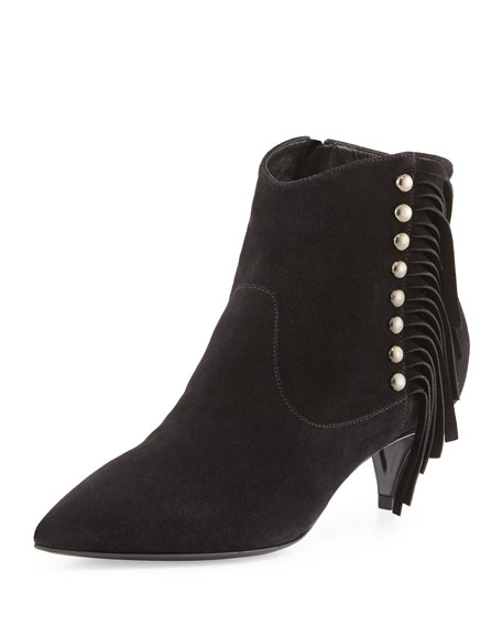 Saint Laurent Suede Side-Fringe Ankle Boot, Nero