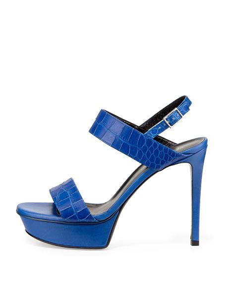 saint laurent crocodile embossed platform sandal bleu majorelle. Black Bedroom Furniture Sets. Home Design Ideas