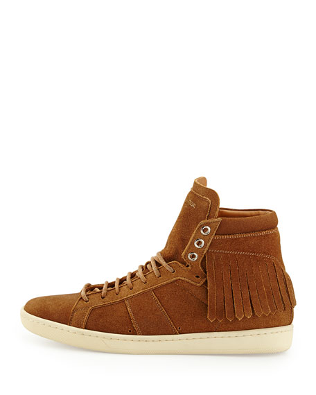 Suede Fringe High-Top Sneaker, Noisette/Cognac