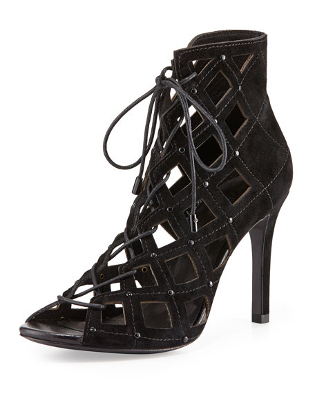 Cayla Studded Suede Cage Bootie, Black