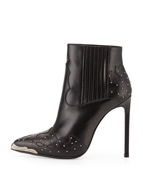 Saint Laurent Studded Western Ankle Bootie, Black