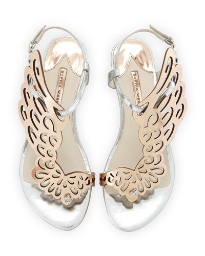 Seraphina Angel-Wing Sandal, Rose Gold/Silver