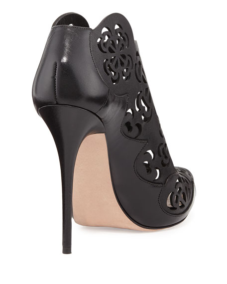 Scalloped Laser-Cut Peep-Toe Ankle Boot