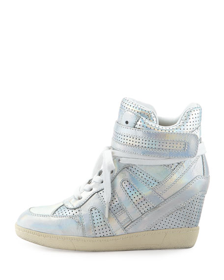 Beck Iridescent Leather Wedge Sneaker, Silver