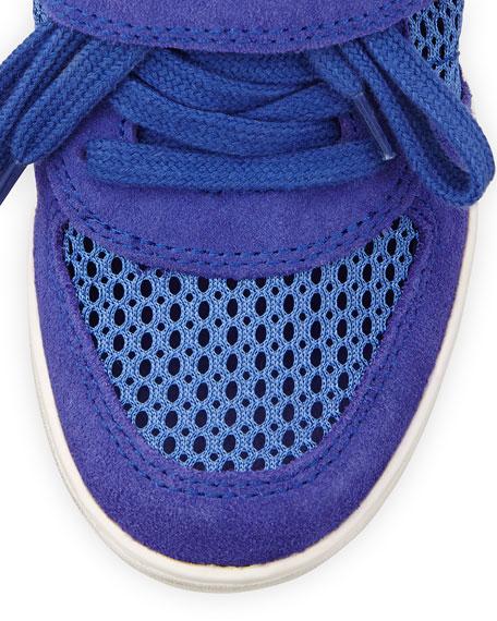 Bowie Mesh Suede Wedge Sneaker, Sapphire