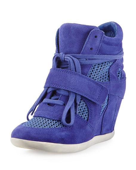 Cool Mesh Suede Wedge Sneaker, Sapphire