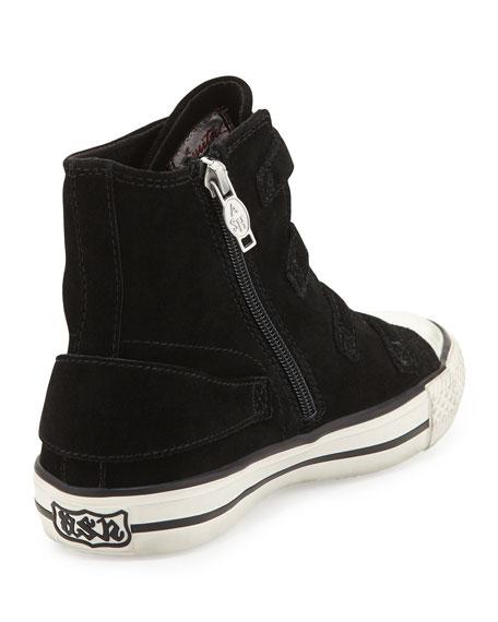 Buckled Suede High-Top Sneaker, Black