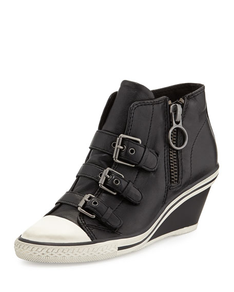 AshGin Bis Buckled Leather Wedge Sneaker, Black