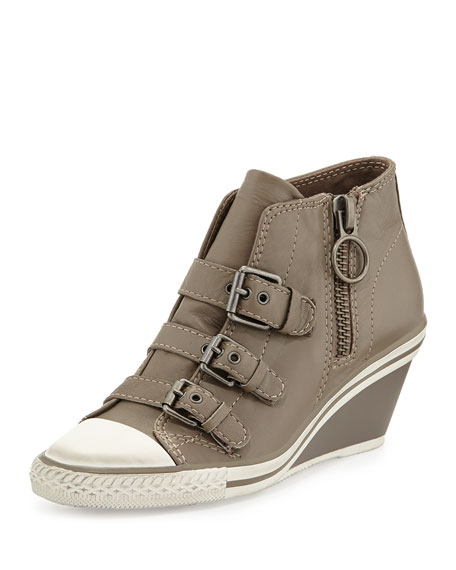 Ash Gin Bis Buckled Leather Wedge Sneaker, Perkish