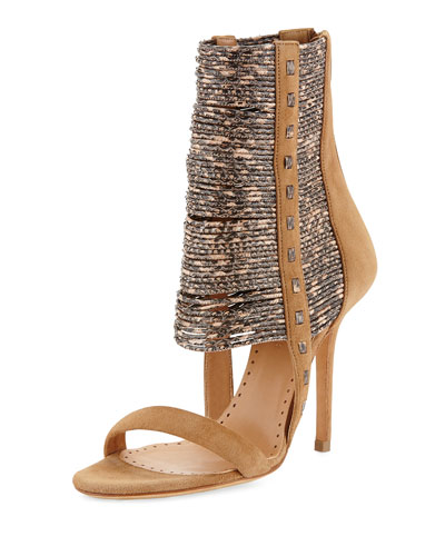 Alexa Wagner  Kallima Suede & Snake-Print Bootie, Amaretto/Natural
