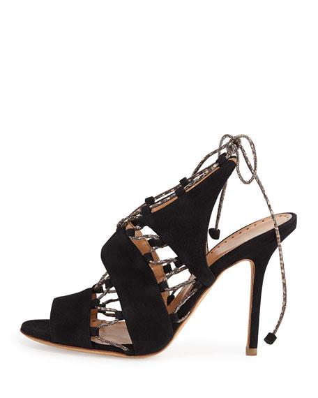 Suede Lace-Up Sandal, Black/Natural