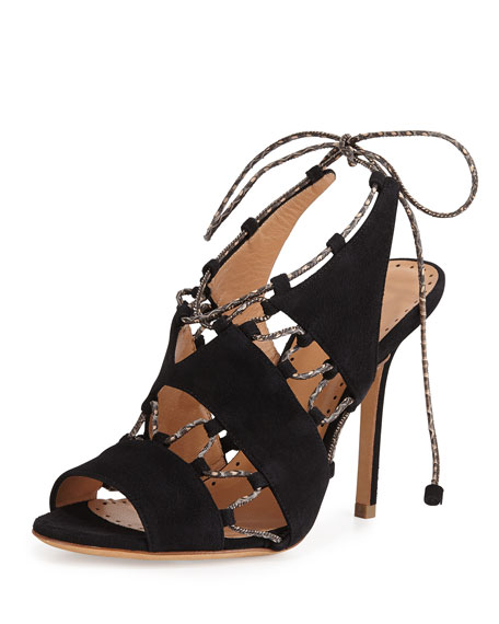 Alexa Wagner Suede Lace-Up Sandal, Black/Natural