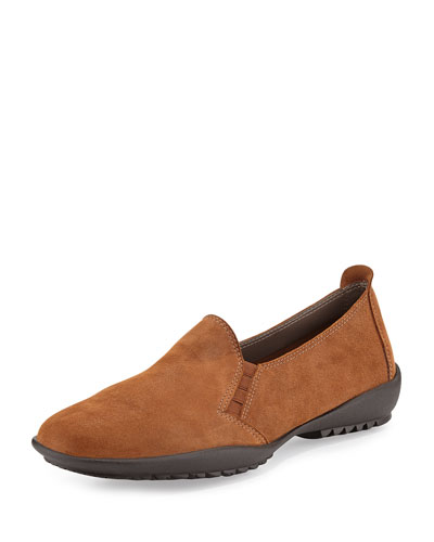 Angy Textured Suede Loafer, Brown