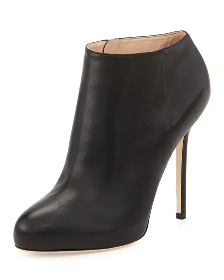 Leather High-Heel Ankle Bootie, Black