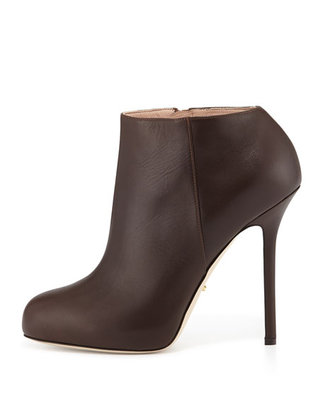 Leather High-Heel Ankle Bootie, Dark Brown