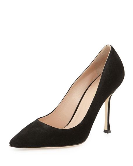 Suede Pointed-Toe Pump, Black