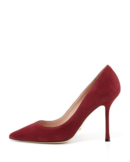 Suede Pointed-Toe Pump, Burgundy