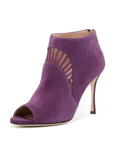Suede Peep-Toe Bootie, Purple