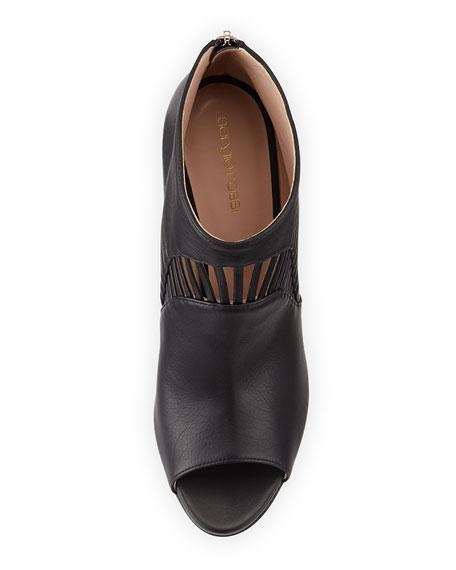 Leather Peep-Toe Bootie, Black