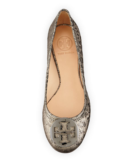 Reva Flocked Ballerina Flat, Gray