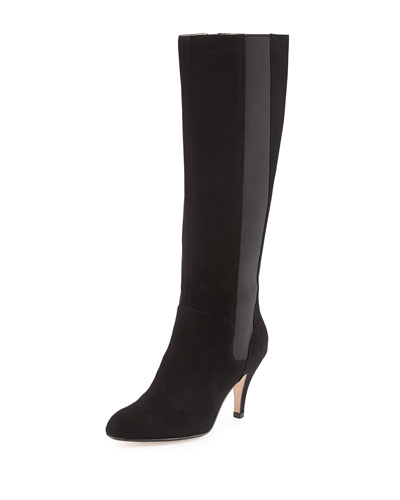 Theresa Suede Stretch Knee Boot, Black