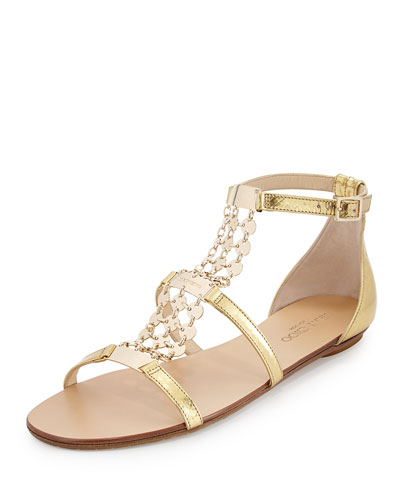 Wyatt Metallic Chain-Trim Flat Sandal, Gold