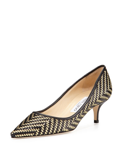 Aza Woven Leather Kitten-Heel Pump, Black/Gold
