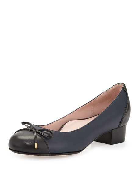 Taryn Rose Jerome Nappa Leather Cap-Toe Pump, Navy