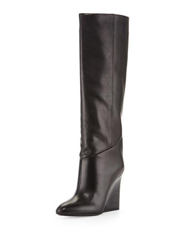 Cartel Leather Wedge Knee Boot, Black