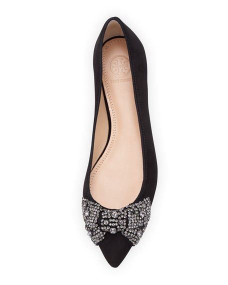 Vanessa Suede Crystal-Bow Flat, Black