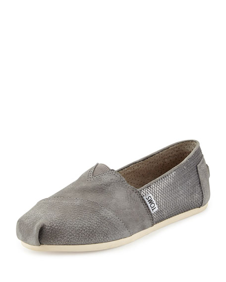 Sequined Leather Slip-On, Gray