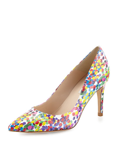 Floret Printed Leather Pump, Multi