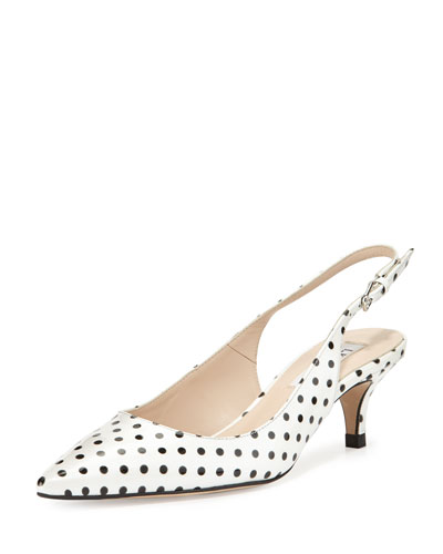 Mira Polka Dot Slingback Pump, White/Black