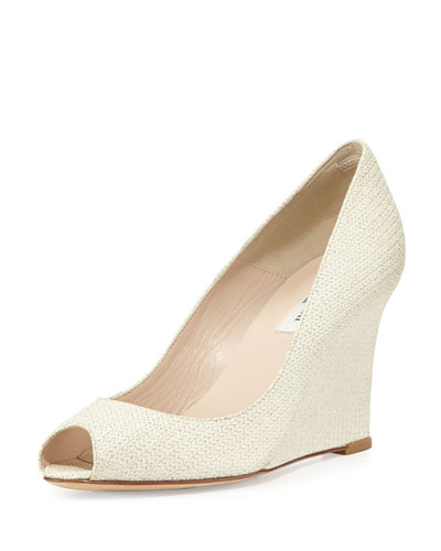 Erica Glitter Woven Leather Wedge, Soft Gold