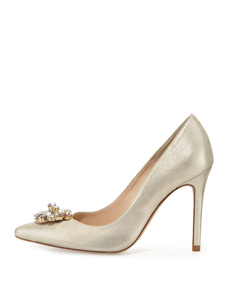 Floey Crystal-Toe Shimmer Pump, Pale Gold